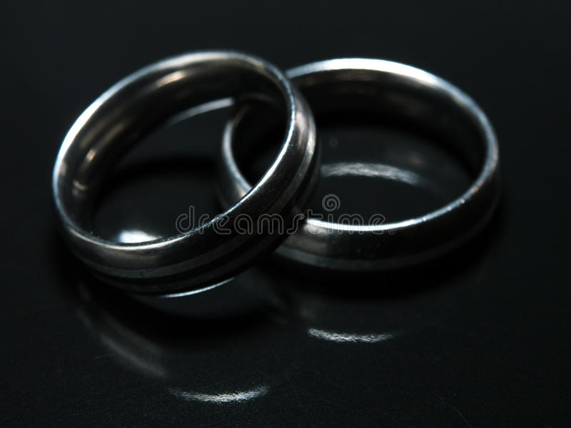 Two Used Wedding Rings On Black Background Stock Image Image of