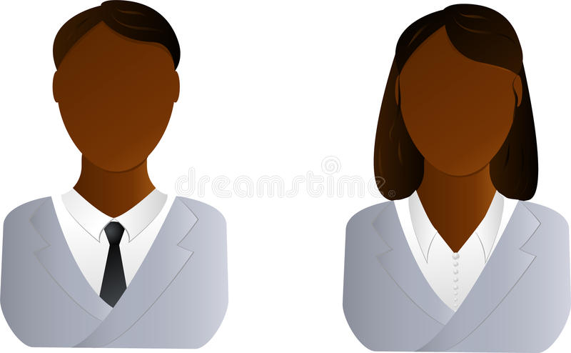 Two Users Icon - African Man And Woman Royalty Free Stock Images