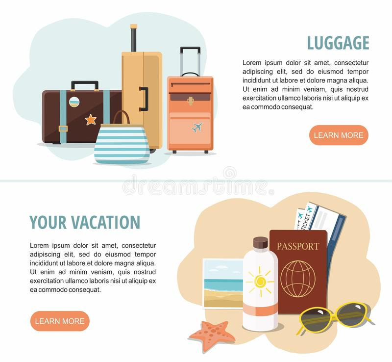 Two Vacation and travel web banners. Travel suitcases,  tickets service and Beach Accessories. vector illustration