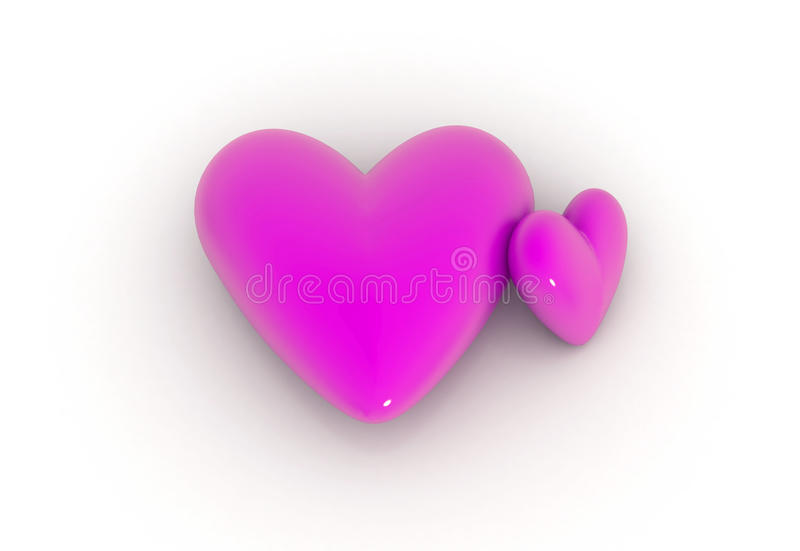 Download Two valentine hearts stock illustration. Image of horizontal - 12363484