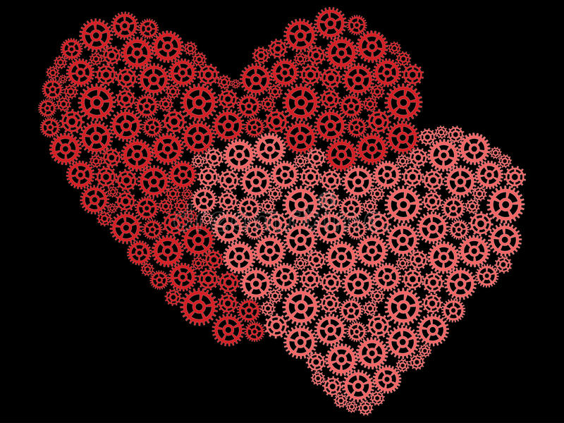 Download Valentines made of gears stock vector. Illustration of heart - 29826226