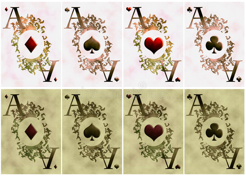 Download Two variants of card aces stock illustration. Image of games - 19190193