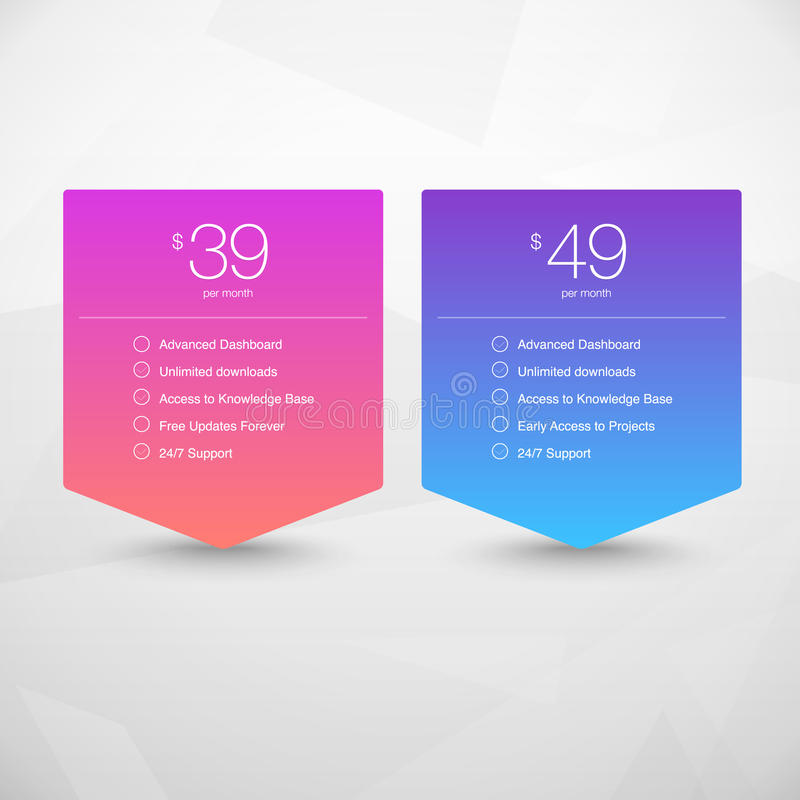 Two Vector Pricing Tables for Web. Presentations and Infographics templates. Vivid illustration on Geometric modern background stock illustration