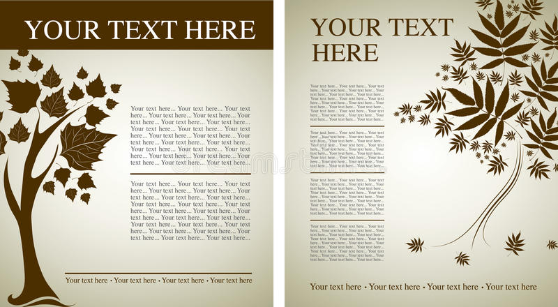 Two Vector samplesof design with decorative tree royalty free illustration