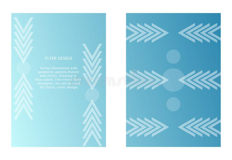 Two vector templates of flyers in blue color. Art with graphic pointer and circles. Modern minimalism art. Abstract ornate stock illustration