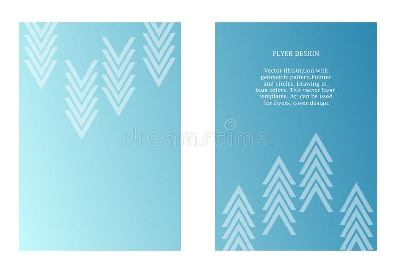 Two vector templates of flyers in blue color. Art with graphic pointer. Modern minimalism art. Abstract ornate vector illustration