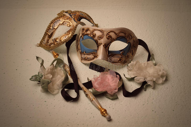 Two Venetian masks stock photography