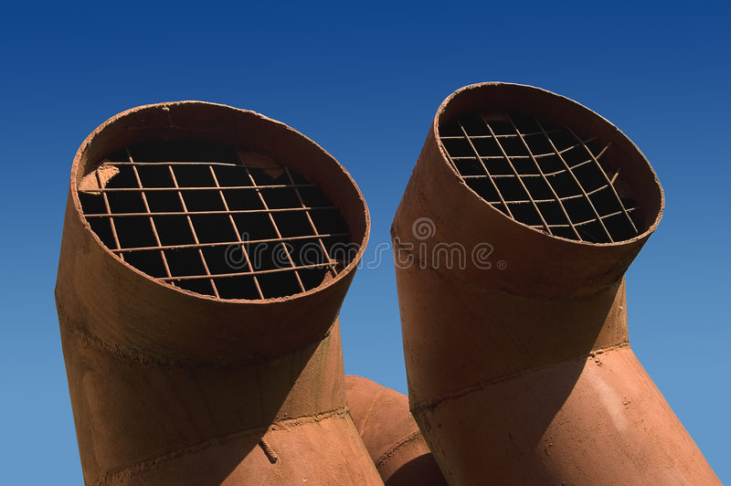 Two ventilation pipes stock photography