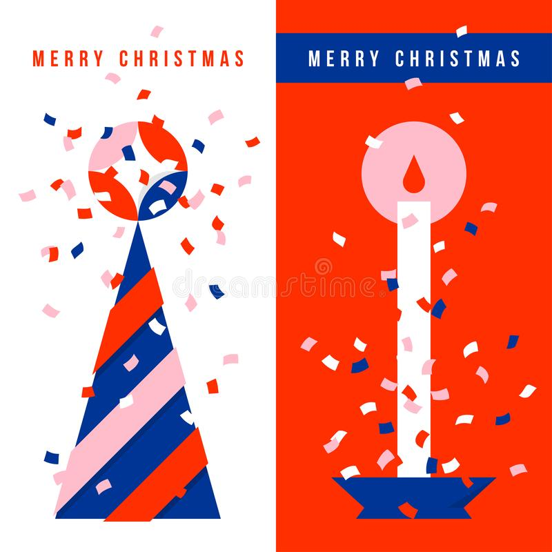 Two vertical greeting cards with Christmas tree, holiday candle and colorful confetti in the air. Two vertical elegant greeting cards with Christmas tree royalty free illustration