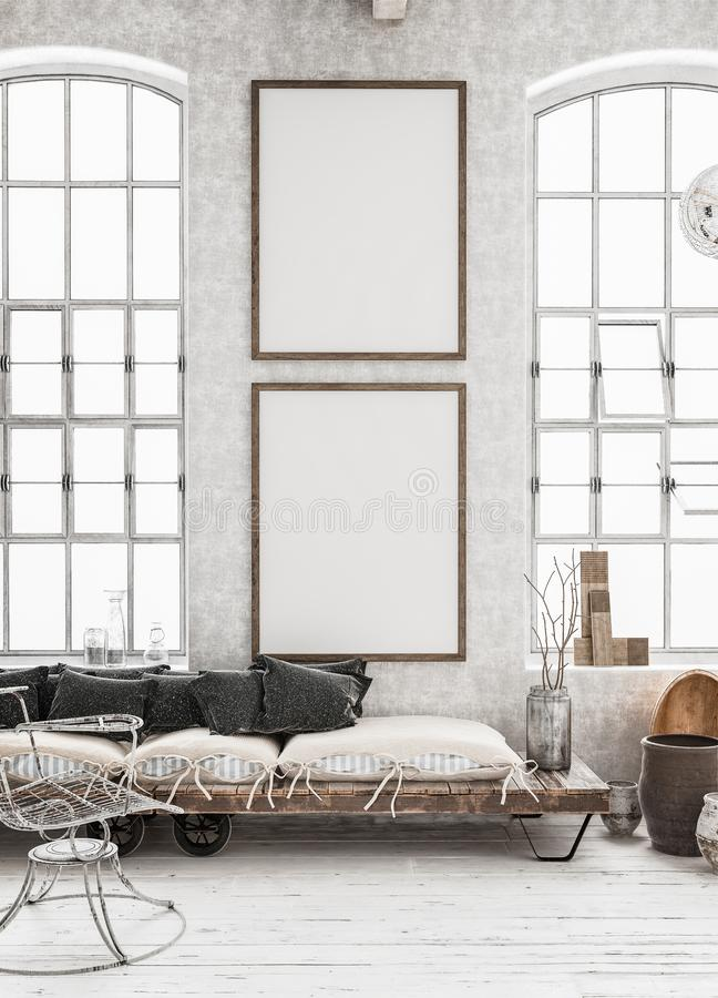 Two vertical Mock-up posters in shabby interior background, Scandinavian style. 3d render stock images