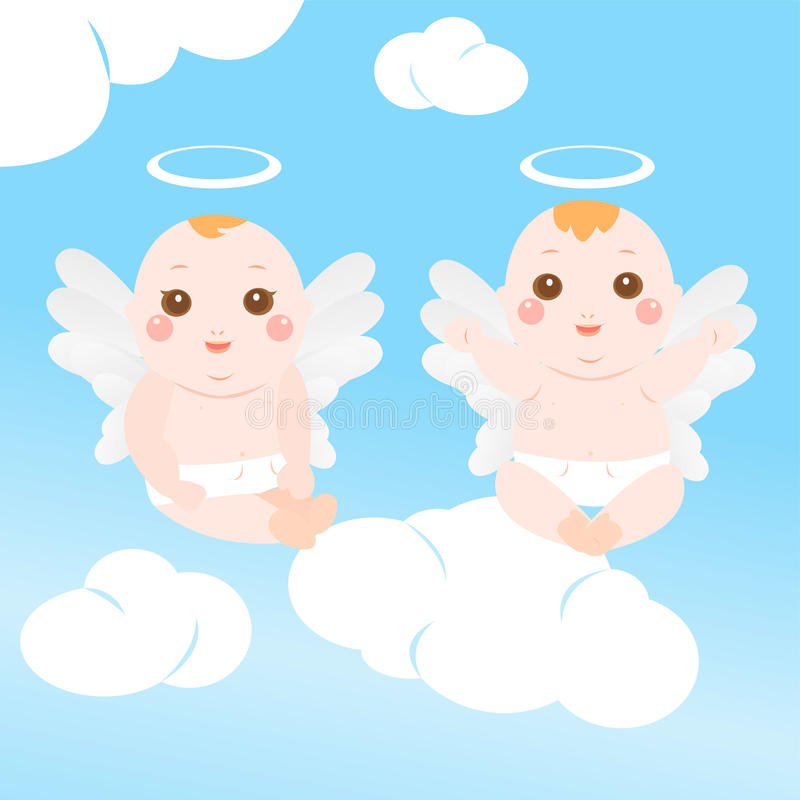 Two very cute angel baby vector illustration
