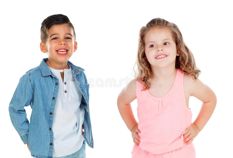 Two very like brothers stock photos