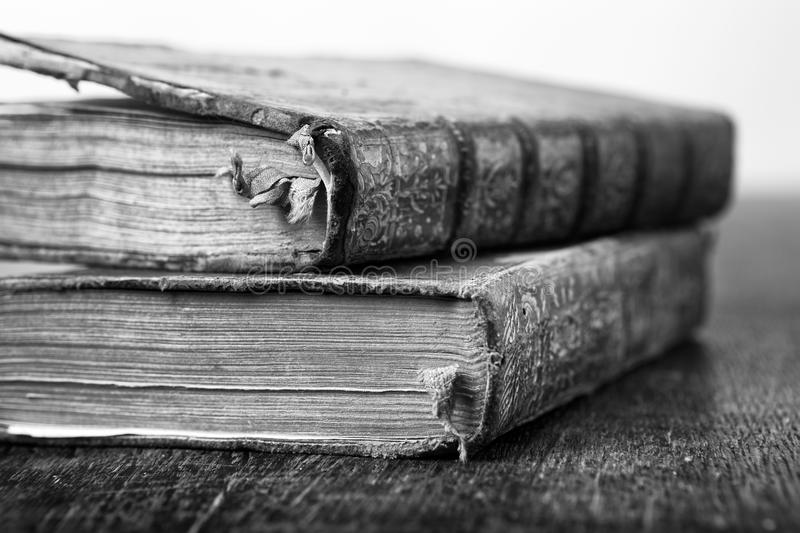 Two very old books stock photography