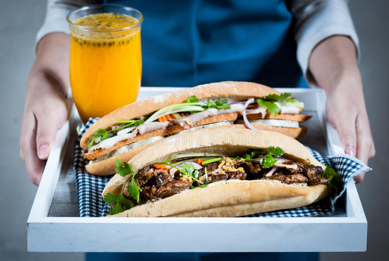 Two vietnamese baguettes (banh mi) royalty free stock photography