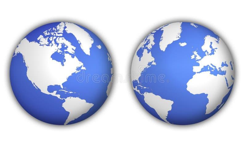 Two views of world globe royalty free illustration