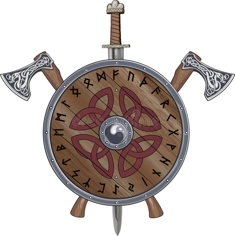 Free Two Viking Axe, Sword End Shield Decorated Scandinavian Runes And Ornamental Stock Photos - 77053643