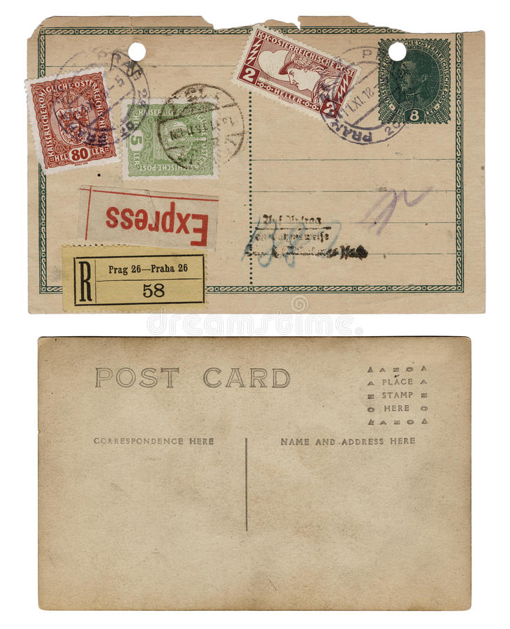Two Vintage Antique Postcards royalty free stock images