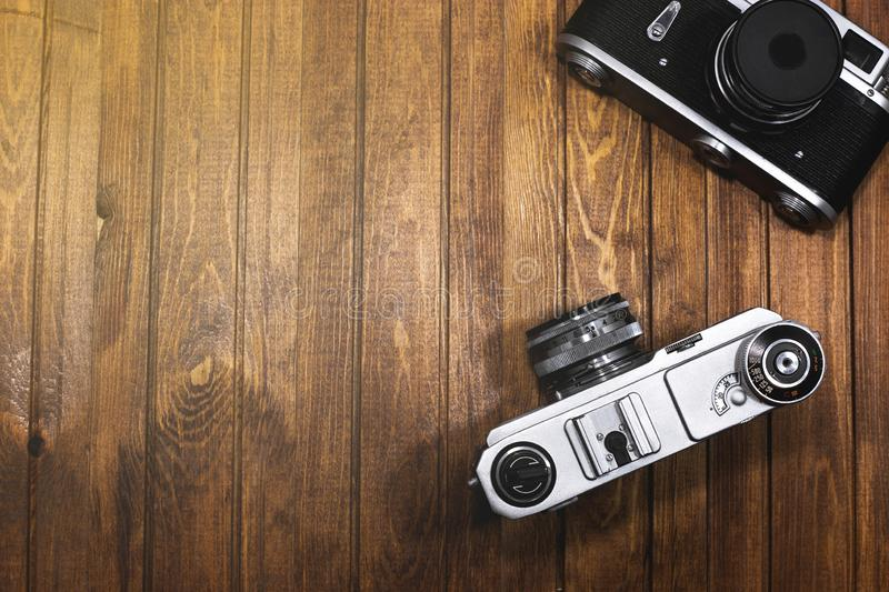 Two vintage cameras stock image