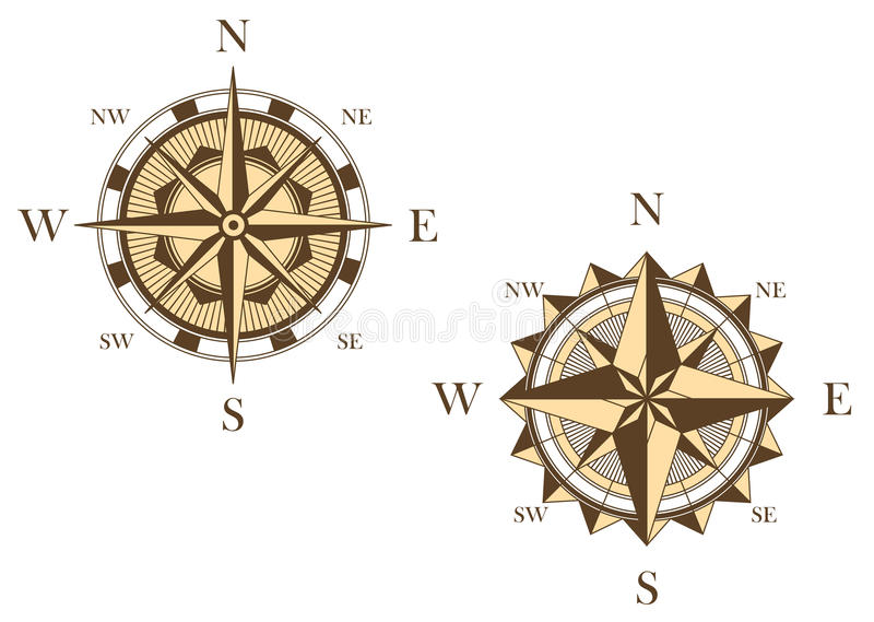 Download Two vintage compasses stock vector. Image of design, north - 31654678