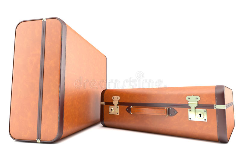 Two vintage light brown suitcases