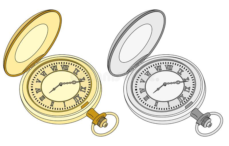 Two vintage pocket watches, gold and silver stock illustration