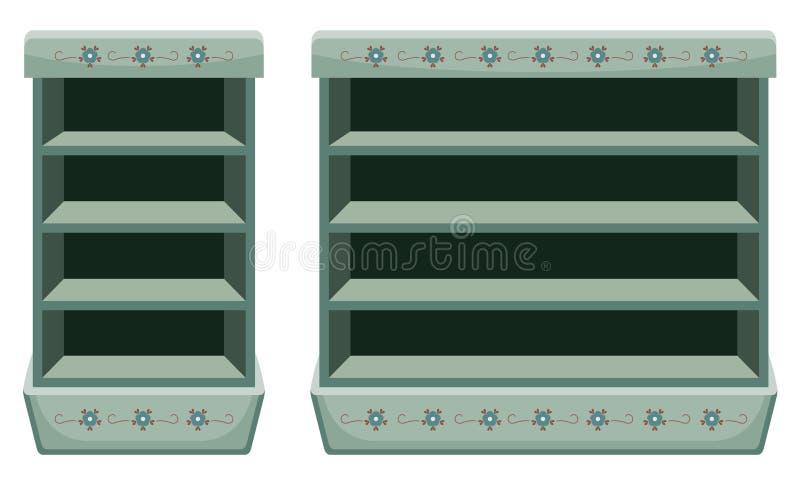 Two vintage racks with empty shelves. Vector illustration vector illustration