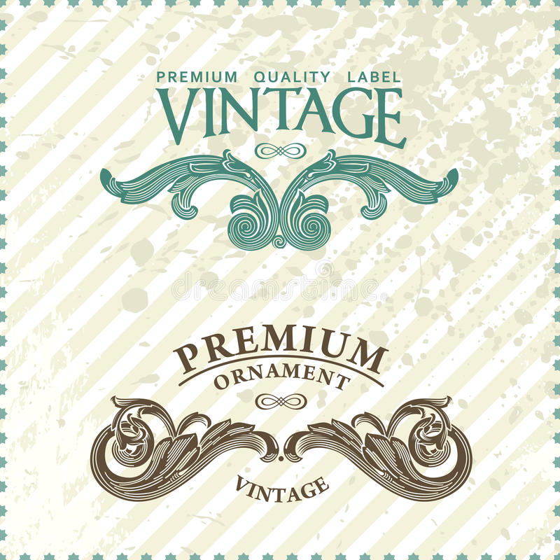 Two vintage styled premium quality ornate labels. Vector grunge style royalty free illustration