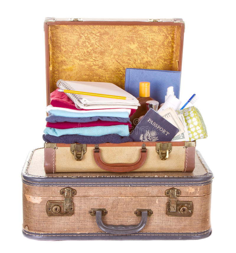 Download Two Vintage Suitcases Packed Stock Image - Image: 26292631