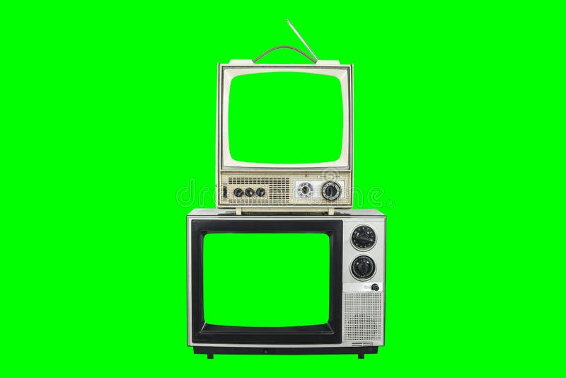 Two Vintage Televisions with Green Screens and Background stock photo