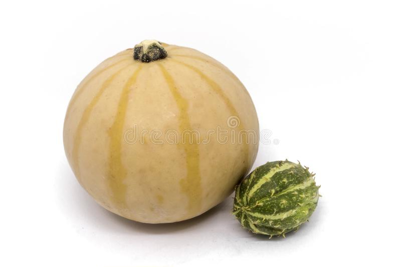 Pumpkin, horned melon vegetables royalty free stock photos