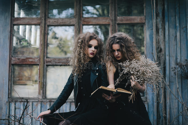 Two vintage witches gathered eve of Halloween royalty free stock photography