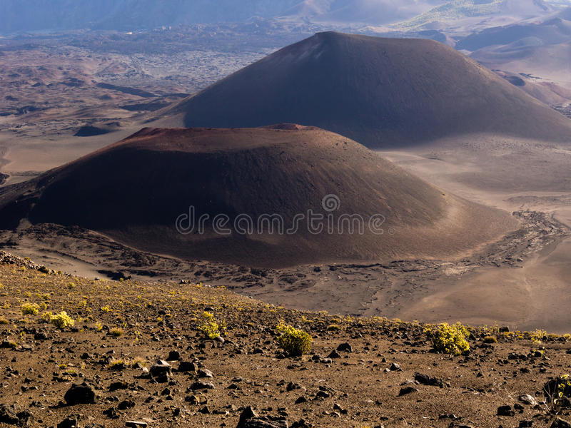 Two volcanic cones stock photography