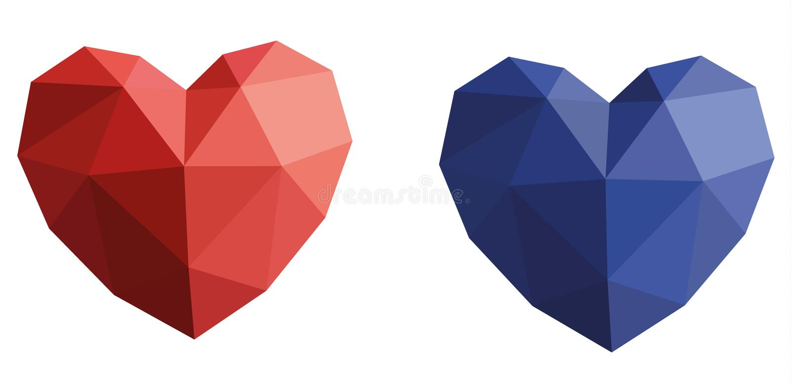 Two volumetric hearts of red and blue. Volumetric heart of colored paper vector illustration