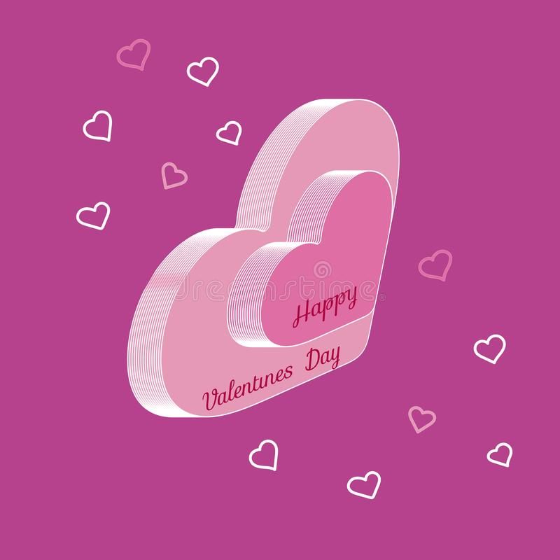 Two volumetric isometric hearts. Text Happy Valentine`s Day. Vector illustration.  royalty free illustration