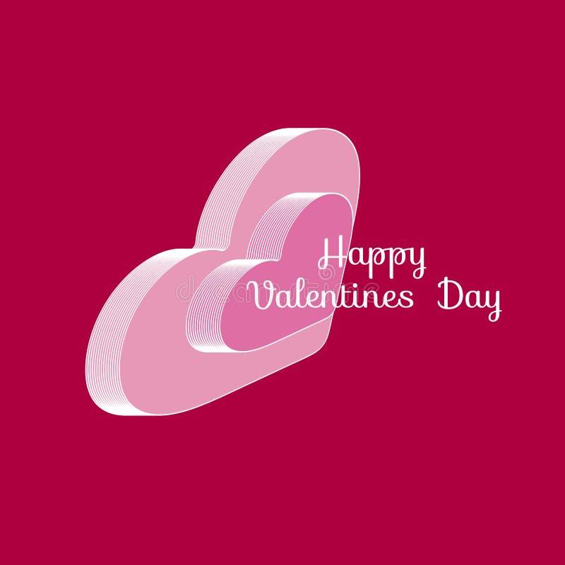 Two volumetric isometric hearts. Text Happy Valentine`s Day. Vector illustration.  stock illustration