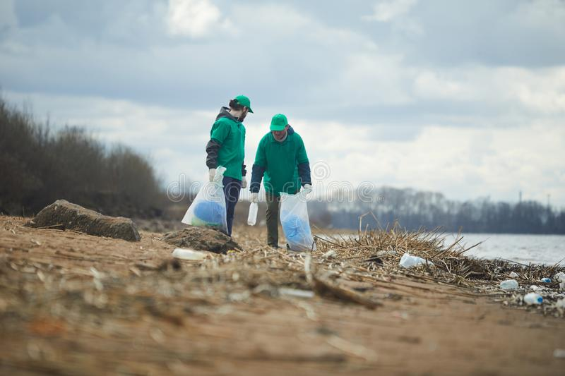 Volunteers collecting litter on shore royalty free stock photography