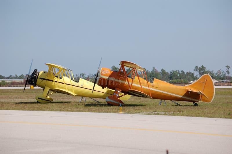 Two Waco Biplanes stock photos