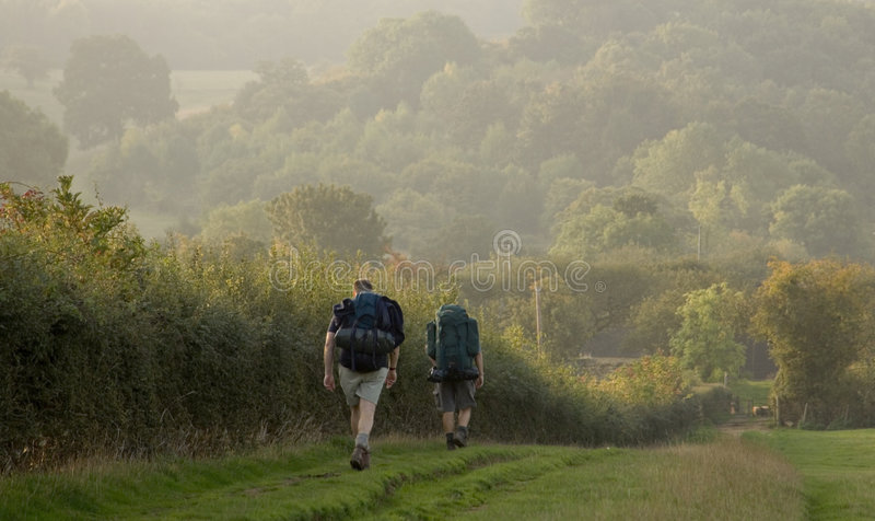 Two walkers stock photography