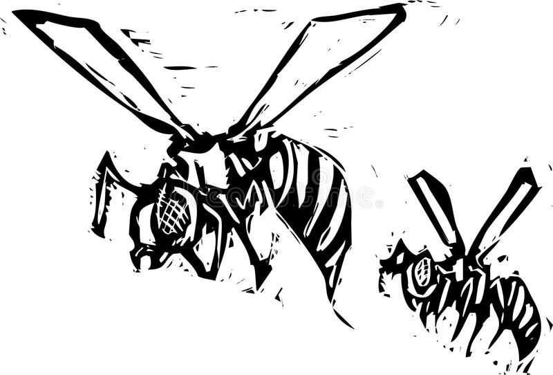 Two wasps. Two woodcut images of wasps in flight stock illustration