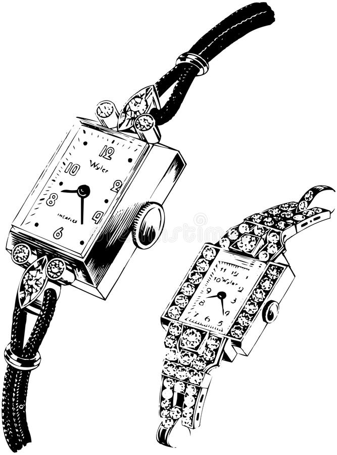 Two Watches stock illustration