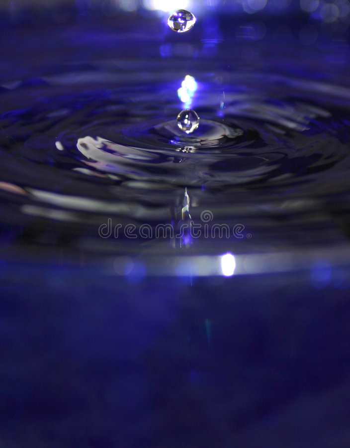 Two Water Drops in a Blue Pool royalty free stock photo