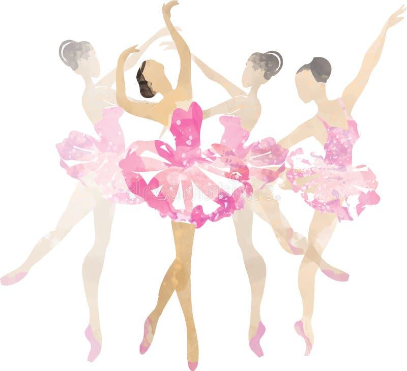 Two watercolor ballerina dancing stock illustration