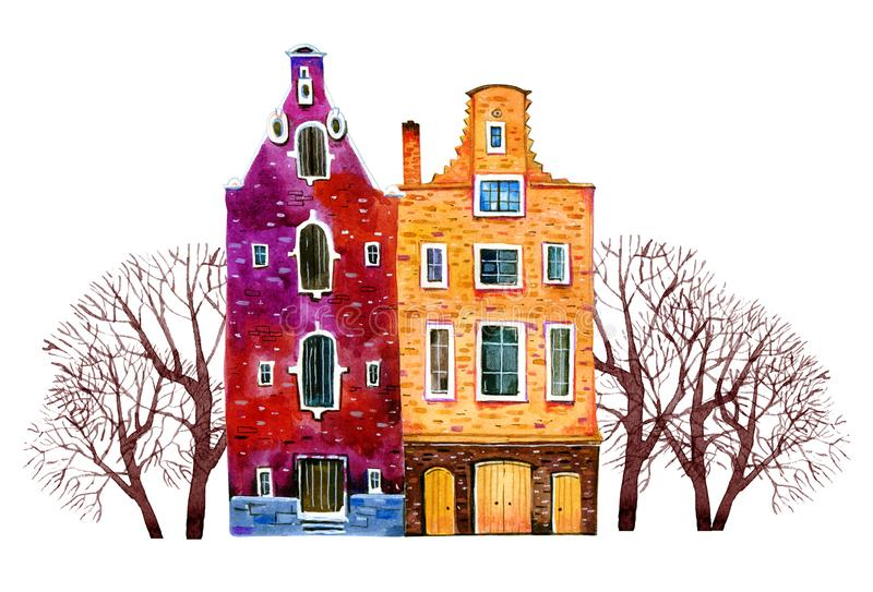 Two watercolor old stone europe houses. Amsterdam buildings with trees. Hand drawn cartoon illustration. Isolated on white background royalty free illustration