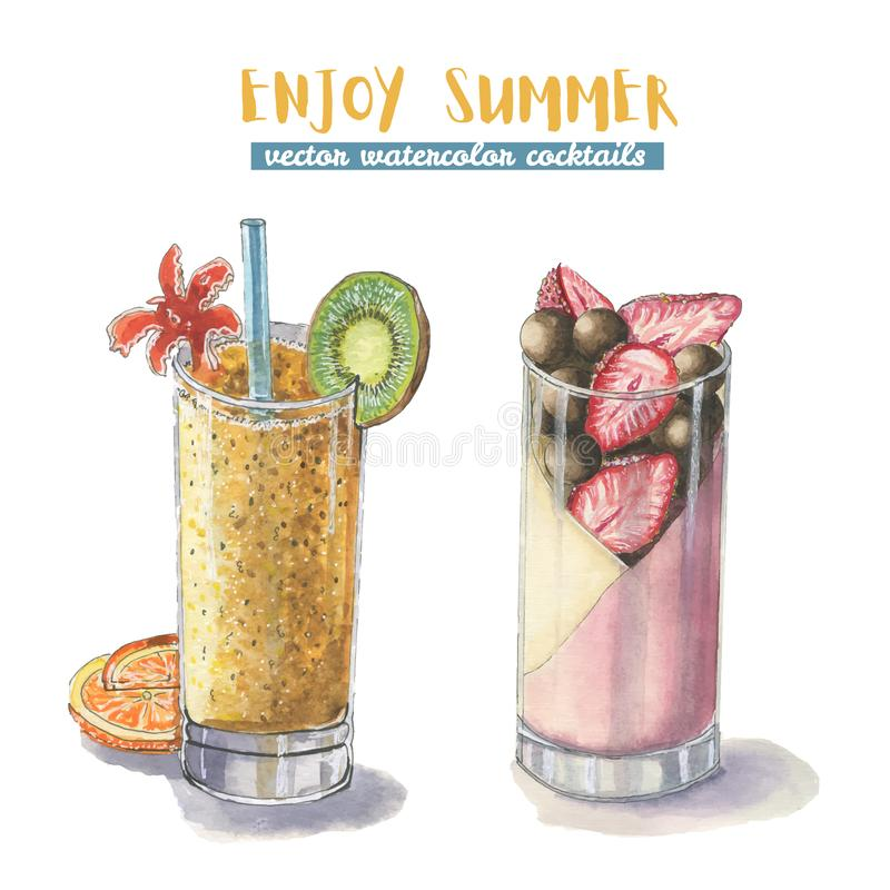 Two watercolor summer cocktail stock photo