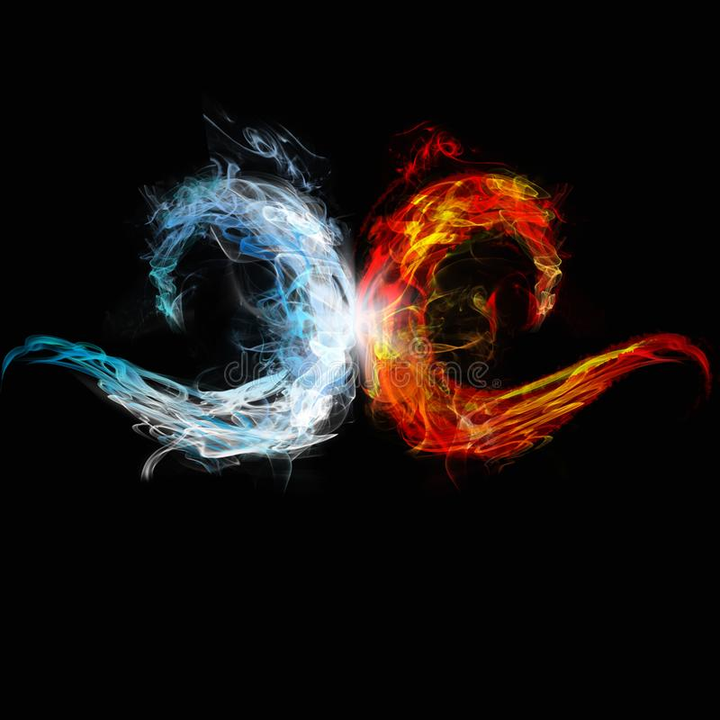 Two waves of ice and fire meet stock illustration