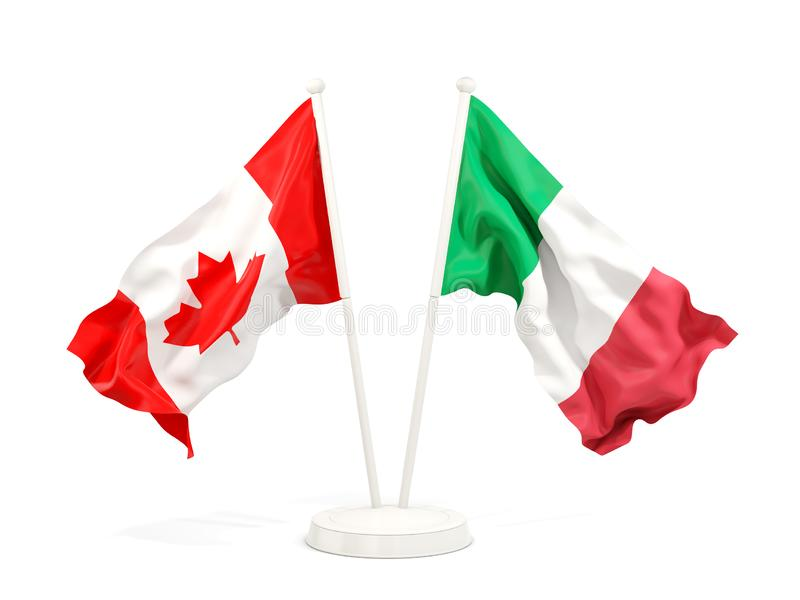 Two waving flags of Canada and italy stock illustration