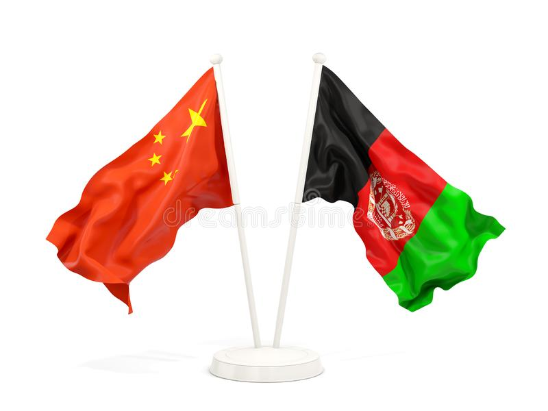 Two waving flags of China and afghanistan isolated on white. 3D illustration vector illustration