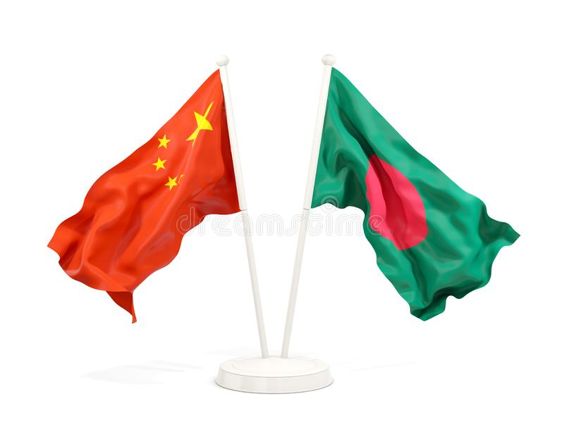 Two waving flags of China and bangladesh isolated on white. 3D illustration vector illustration