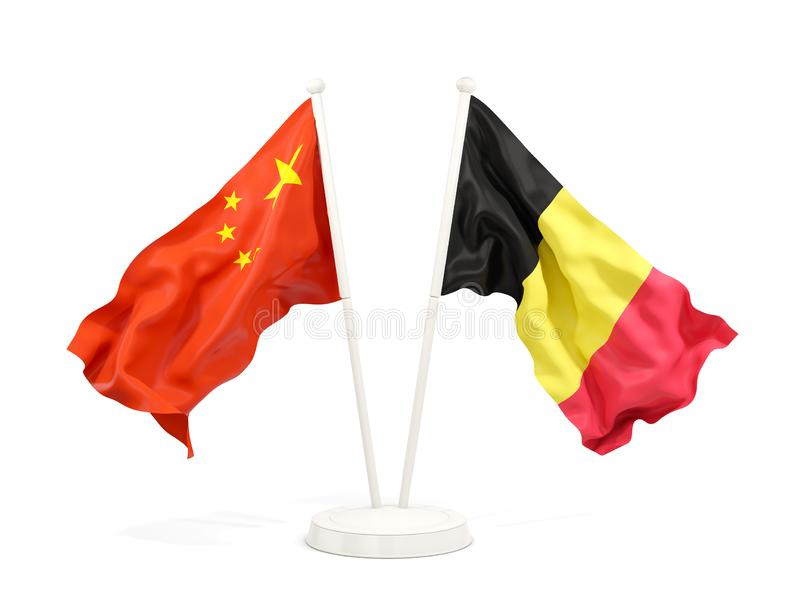 Two waving flags of China and belgium isolated on white. 3D illustration royalty free illustration