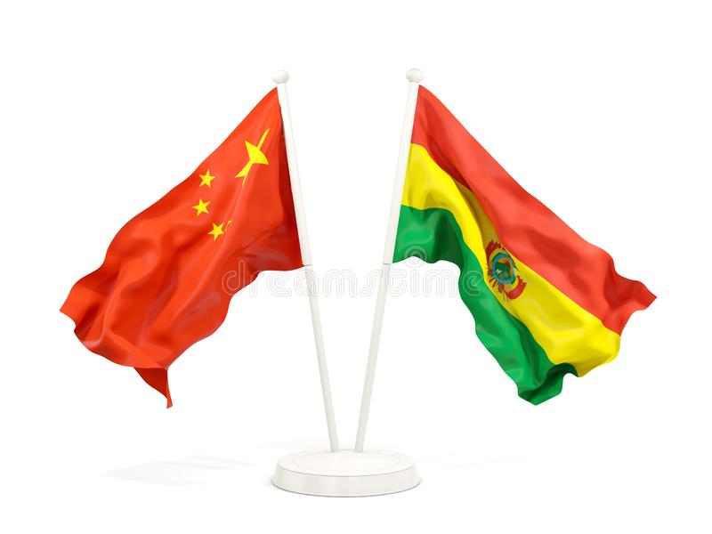 Two waving flags of China and bolivia isolated on white. 3D illustration royalty free illustration
